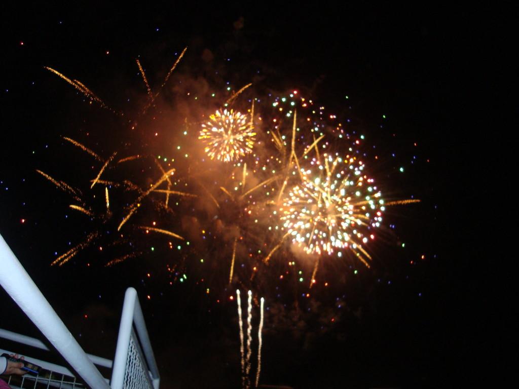 fireworks after drum corps show with blue devils drumline